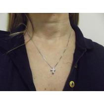 Pingente Cruxifixo Com Corrente Em Ouro 18k/750 E Diamantes