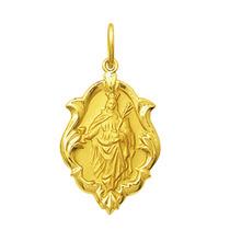 Leão Jóias Medalha Pingente Santa Barbára Ouro 18k 2,5 Cm