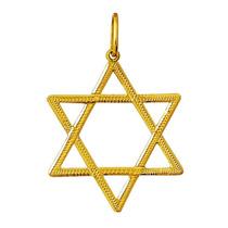 Estrela 6 Pts Davi Salomao Hexagrama Pingente Ouro 18k 2.5cm
