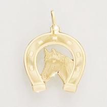 Pingente Cavalo E Ferradura De Ouro 18k (750) Feminino