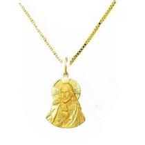 Pingente Cristo Ouro 18k E Corrente Veneza Masculina E,i