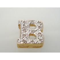 Pingente Letra B De Ouro 18k Com Diamantes J R Joalheiro