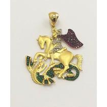 Pingente São Jorge, Ouro 18kt Pedras- Rubi,esmeralda,brits