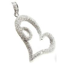 Pingente Coração Em Ouro 18 Quilates!com 1cts De Diamantes!!