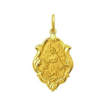 Pingente Medalha Anjo Da Guarda Ornato Ouro 18k K,v