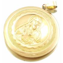 Pingente Coraçao De Jesus/n.sr.aparecida Ouro Rose18k J14701