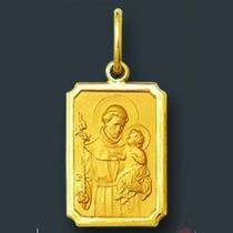 Medalha Santo Antonio Retangular Ouro 18k Liso E Fosco 0,5