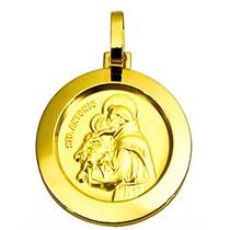 Pingente Medalha Santo Antonio Redondo Ouro 18k