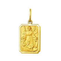 Pingente Medalha Anjo Da Guarda Ouro 18k Pequeno