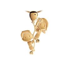 Pingente Solido Em Ouro 18k Menino E Menina Com Balão Lefine