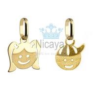 Nicaya Pingente Menino Ou Menina Ouro 18k-750