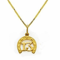 Pingente Ferradura Ouro 18k E Corrente Veneza Masculina V,y