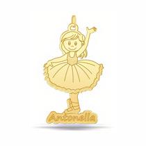 Pingente Menina Bailarina Filhos Personalizado Em Ouro 18k