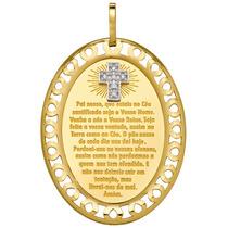 Pingente Com A Oração Do Pai Nosso Em Ouro 18k E Crucifixo