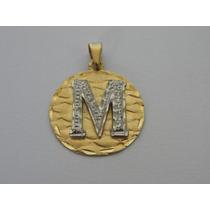 Pingente / Medalha De Ouro 18k Maciço - Letra M