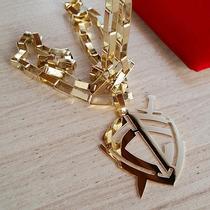 Cordão Cartier 60cm + Pingente Escudo Da Fé Em Ouro 18k