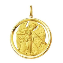 Pingente Medalha Anjo Da Guarda Redondo Vasado A,k
