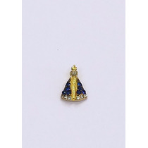 Pingente Nossa Senhora Aparecida, Ouro 18kt Com Zirconia