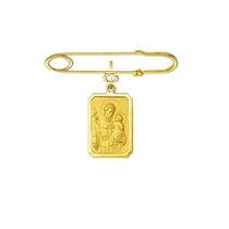 Leão Jóias Alfinete E Medalha Santo Antonio Em Ouro 18k R