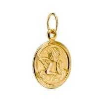 Nelcy Joias Ecia Pingente Medalha Oval Anjo Ouro 18k I,u