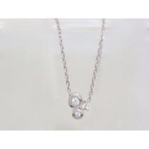 Boqueiraojoias Corrente Pingente 3 Diamantes Ouro 18k-750