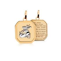 Pingente São Jorge Em Ouro Amarelo E Branco 18k 750