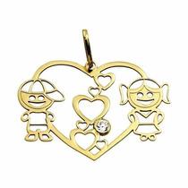 Pingente Coração Com Casal Ouro18k Marcojoias