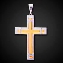 Pingente Crucifixo Bicolor Em Ouro 18k - 750 - 4,6grs