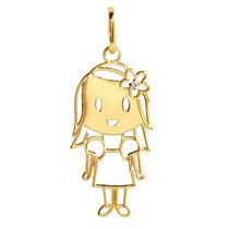 Pingente Menina Vazado Em Ouro 18k(750) Com Diamante.