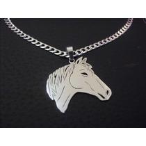 Corrente,cordão,colar C/ Pingente De Cavalo Prata 950 Kl.