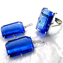 Conjunto Anel E Brincos Quartzo Topázio Azul Em Prata 950k