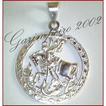 Pingente Medalha Vazado São Jorge Em Prata Maciça 950!