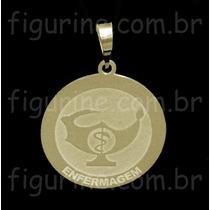 Pingente Enfermagem / Profissão Em Prata Banhada A Ouro 18k