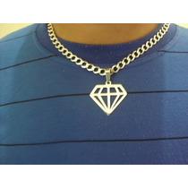 Pingente Corrente Colar Cordão Forma De Diamante Prata 925