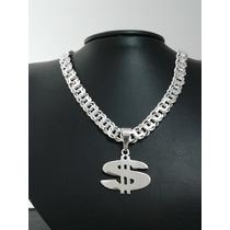 Pingente Cifrão $. Prata 950 Maciça. Jóia Original.