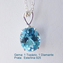 Corrente E Pingente Prata 925, Topazio E Diamante, Cód 7054