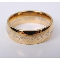 O Um Anel - O Hobbit - Banhado A Ouro 18 K