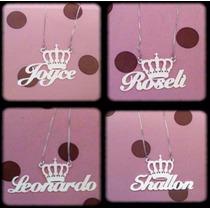 Corrente Colar Com Nome Coroa Personalizado Em Prata 925