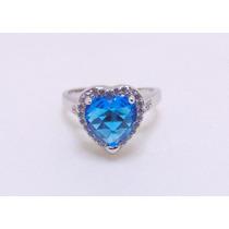 Anel Prata De Lei 925 Coração Com Pedra Azul