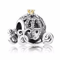 Berloque Charm Pandora Prata Ouro 14 K Carruagem Cinderela