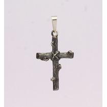 Cruz Masculina Entalhada Em Tronco Prata 950