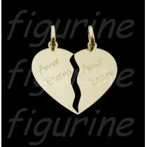Pingente Coração Cara Metade - Amor Eterno Banhado A Ouro