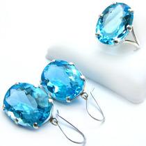 Lindo Anel E Brincos Quartzo Água Marinha Azul Em Prata 950k