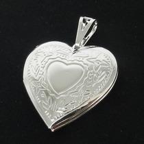 Pingente Coração Relicario 3cm 2 Fotos Folheada Prata Pi181