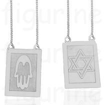 Escapulário Judaico - Estrela De Davi E Hamsa - Em Prata 925