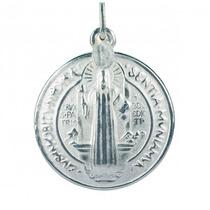Pingente Medalha De Prata São Bento Grande Lefine Garantia