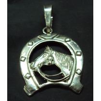 Pingente De Prata Maciça 925 ( Ferradura Com Cavalo)