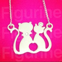 Colar Com Pingente Gatos Namorados - Amor Em Prata 925