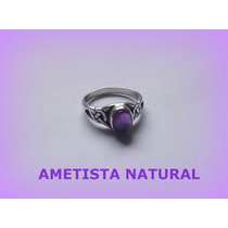 Anel Celta Enchanted Ametista Natural- Prata 3,2 Gr - Aro 18
