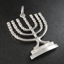 Pingente Masculino Judaico - Menorá De Prata 925 + Frete